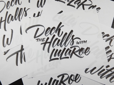 Deck The Halls tombow brush script calligraphy lettering
