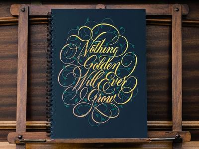 Nothing Golden Will Ever Grow Dot Grid Book cover sketchbook dotgrid gold cartouche script lettering