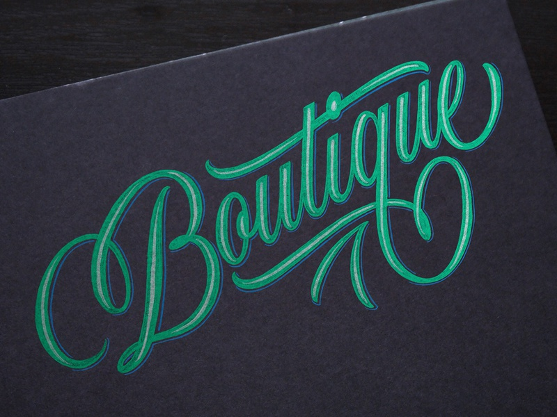 Boutique Sketch swashes calligraphy script signage boutique sketch handlettering lettering