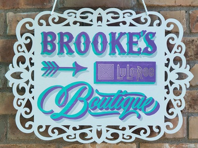 Brooke's Boutique signage boutique handpainted 1shot signpainting shadow shade tuscan script lettering
