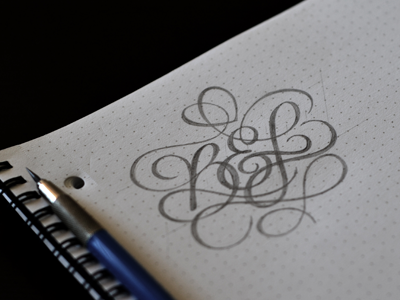 B&L Monogram lettering script type typography sketch pencil monogram tattoo personal
