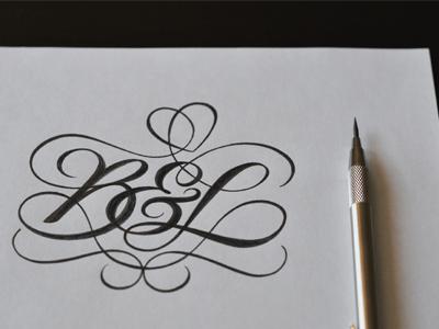 B&L Monogram II lettering script type typography sketch pencil monogram tattoo personal