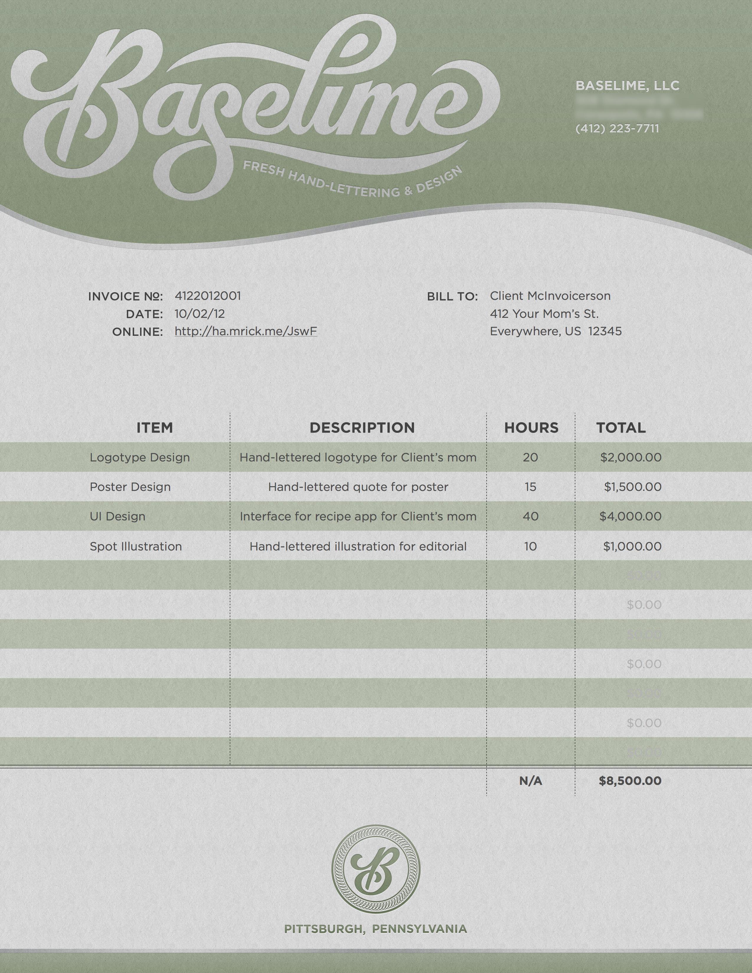Baselime invoice sample