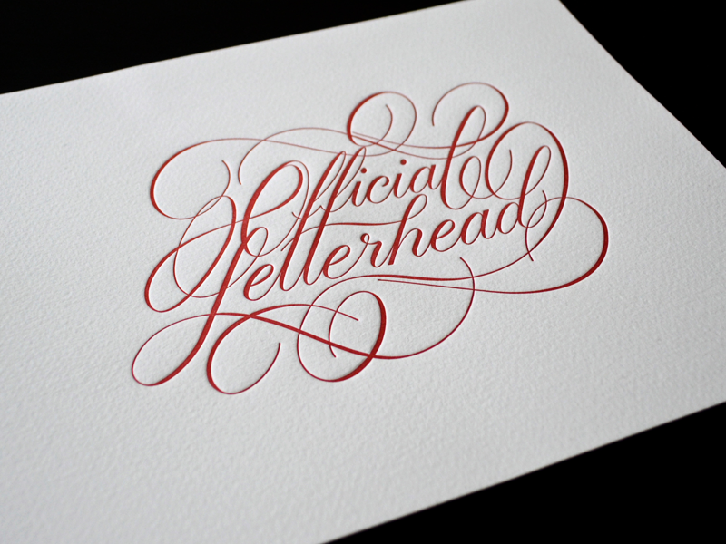 Official Letterhead Print lettering script type typography swashes letterpress print for-sale limited