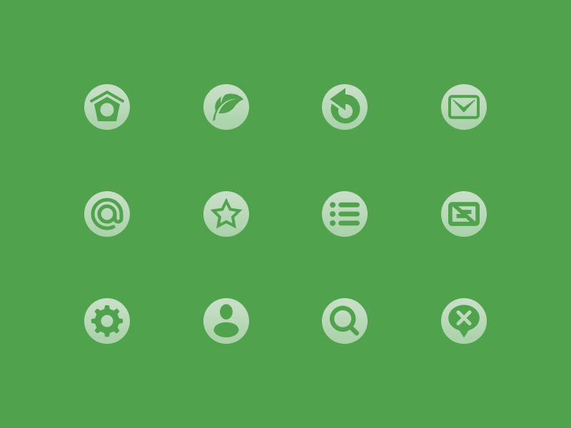 Icons icons ui interface green options social round circle quill feather twitter