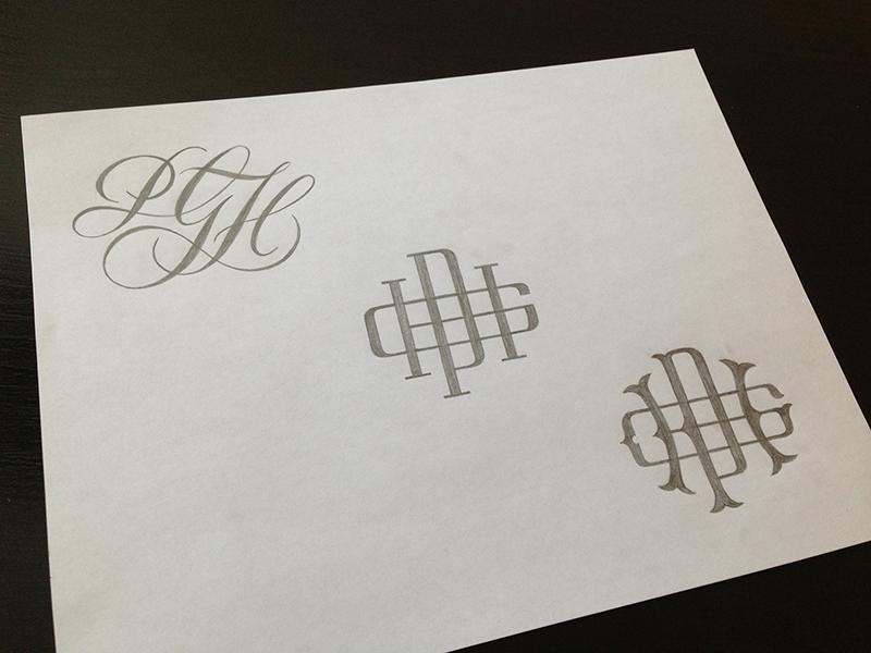 PGH Monogram Sketches lettering script type typography sketch pencil monogram pgh dribbble meetup pittsburgh
