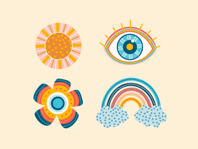 Colorful Icons brand identity icon pack colorful color clouds sun flower rainbow eye stickers icon design icon set iconography branding brand design digital brand vector illustration icons
