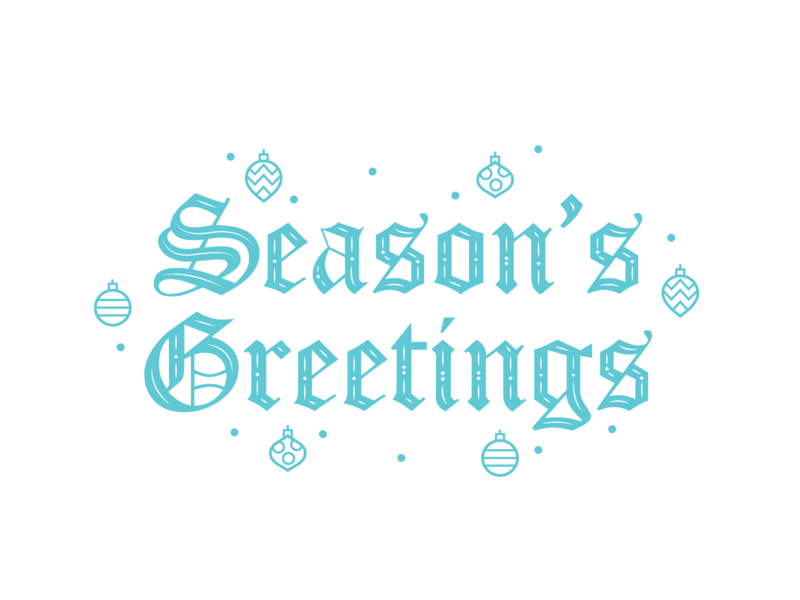 Season's Greetings Typography blue type design blackletters christmas ornament vector blackletter type blackletter typography design typography