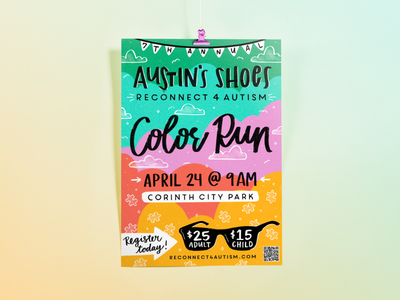 R4A Color Run Poster illustration art design pattern type handlettering typography illustration digital color illustration design autism texture illustration color run