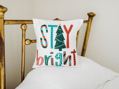 Stay Bright Pillow Design pattern red and green color texture tree christmas tree typography type pillow illustration stay bright christmas