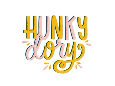 Hunky Dory sixties 60s retro hunky dory hand lettering color type illustration hand typography hand drawn typography type texture typography illustration