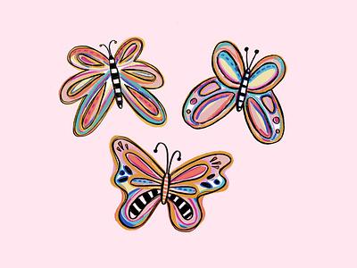 Colorful Butterflies design procreate ipad texture butterflies color illustration ill colorful butterfly