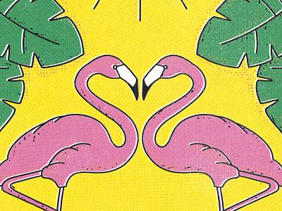 In love offset printing letterpress color vintage illustration texture retro flamingo