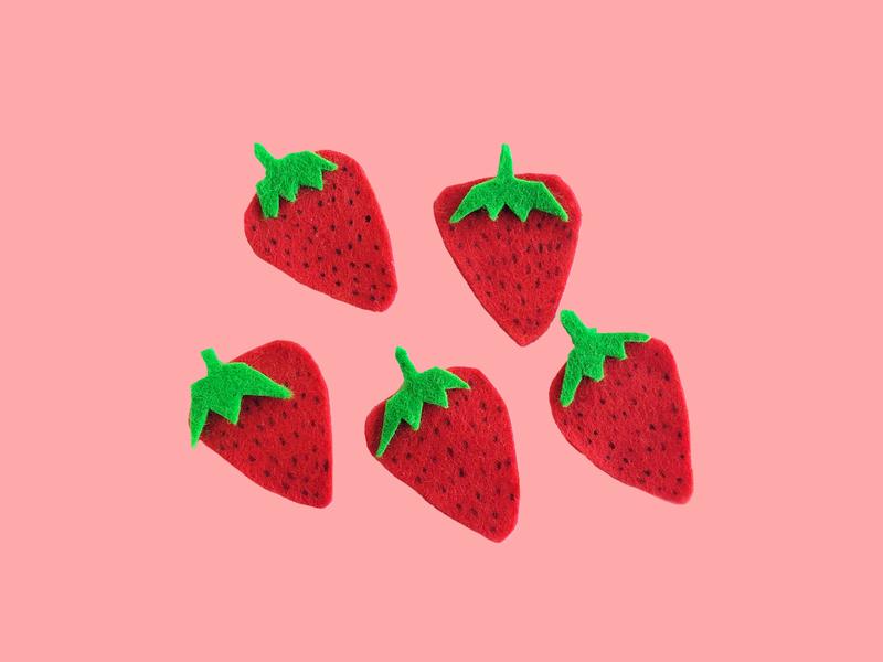 Felt Strawberries tasty berries strawberries yummy green berry pink felt strawberry