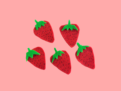 Felt Strawberries tasty berries strawberries yummy green berry pink felt strawberry