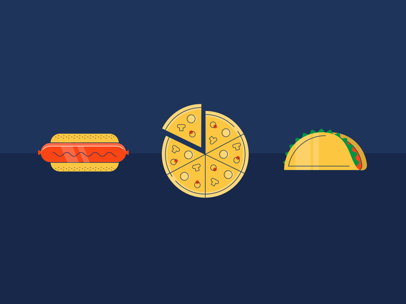 Snackage line work junk food snacks icons taco hot dog pizza