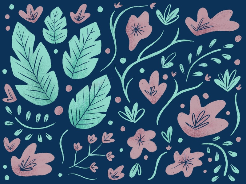 textured foliage green pattern illustration flowers illustration pink flowers leaves leaf texture foliage