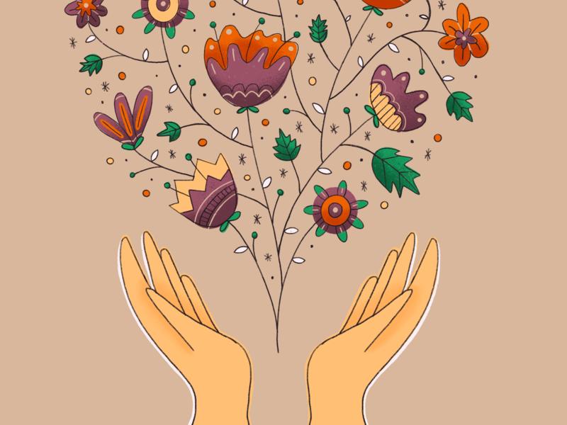 Flower Hands flowers illustration illustration leaf ipad pink purple color foliage flourish flowers hands hand