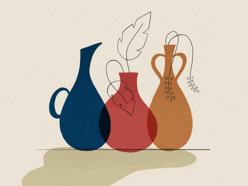 Vases textures shadow warm illustration truegrit texture blue orange red plants plant vases vase