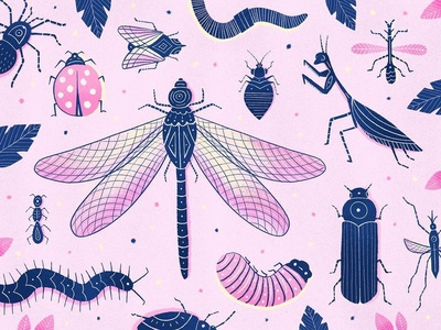 Not for the faint of heart. pattern texture pack caterpiller fly worm pink spider centipede ladybug beetle dragonfly illustration texture bugs