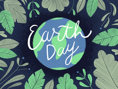 Earth Day Illustration forest galaxy earth leaves leaf true grit texture supply texture social post custom script script typeface earth day illustration