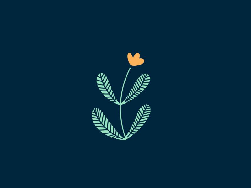 Little flower dark blue green icon lines leaf leaves illustration branding flower illustration flower
