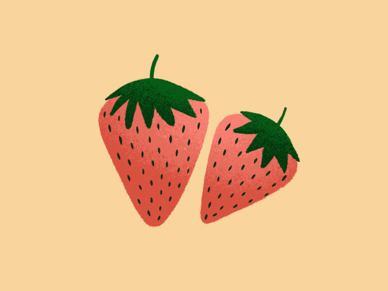 Strawberries yummy fruit design illustraion pink green seeds texture strawberry