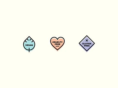 Lil Label Logos vector veganism brand illustration color label packaging free diamond square symbols logos logo leaf heart gluten-free cruelty-free vegan