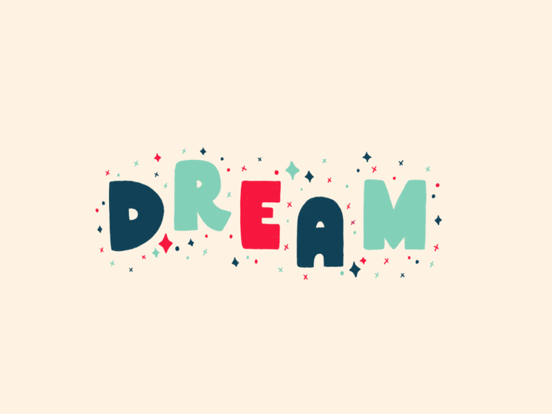 Dream lettering type red blue vector pattern texture typography hand drawn illustration drawing mlk i have a dream dream