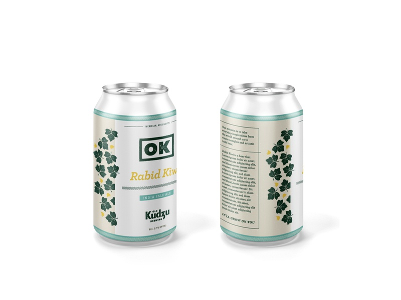 Beer Can logo branding design green texture ale pale ale ok okay pattern leaf illustration beer design beer can beer kudzu