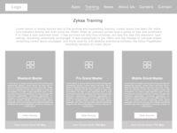 Wireframes of Training Page(Zyksa Project)