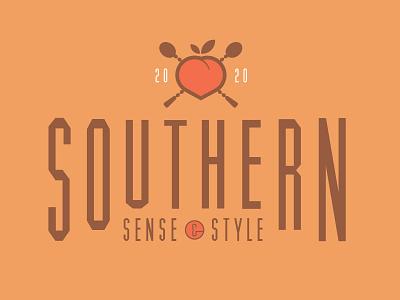 Southern Sense & Style Lock-Up design logo illustration drinks fruit type lock up lockup cocktail southern peach