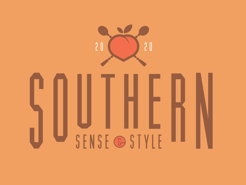 Southern Sense & Style Lock-Up design logo illustration drinks fruit type lock up lockup cocktail southern peach