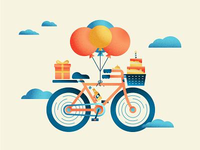 Birthday Bike bike ride flying texture happy birthday air presents clouds tire bike cake birthday cake beer balloons birthday