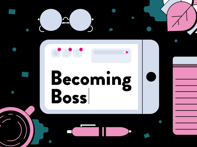 Becoming Boss Header vector flat pen glasses coffee notebook plants digital ipad boss