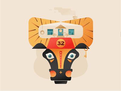 Birthday Bull dog key trees illustration texture vector logo house illustration horns cow house bull birthday