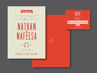 Nathan & Nafeesa Wedding rsvp mail invitations wedding