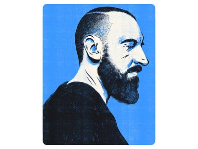 Fink blue beard man texture drawing character fink portrait illustration