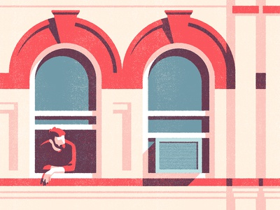 Bushwick brooklyn building window texture illustration