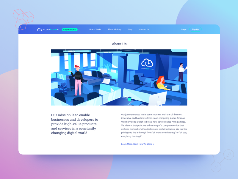 Continuous Integration - About Us Page typography landing ux ui about us illustrations web design