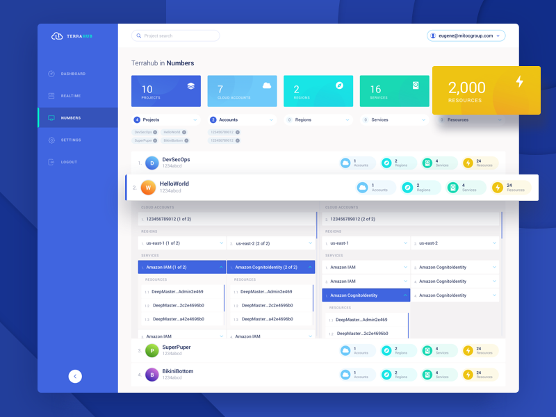 Dashboard - TerraHub - Cloud Service personal area dashboard web pop-up clean blue background gradient ux ui