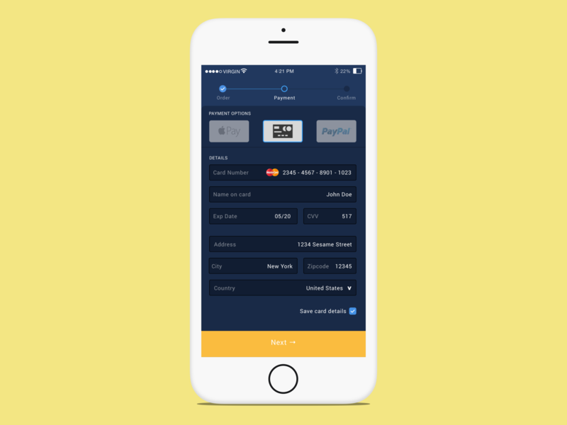 Tarmac - Payment Screen payment form mobile app vector mock-up ui ux design mobile app design