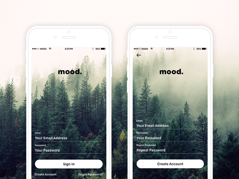 Mood Photo Feed App signin signup login photography design nature app photo