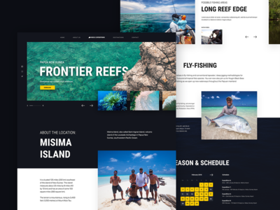Landing page for sport fishing company RockExpeditions.