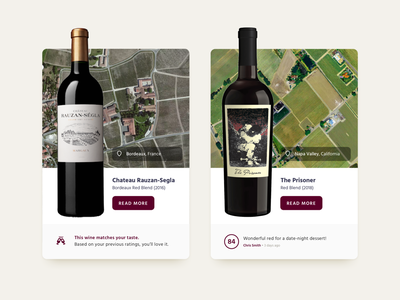 Reccomended Wines ecommerce card wine
