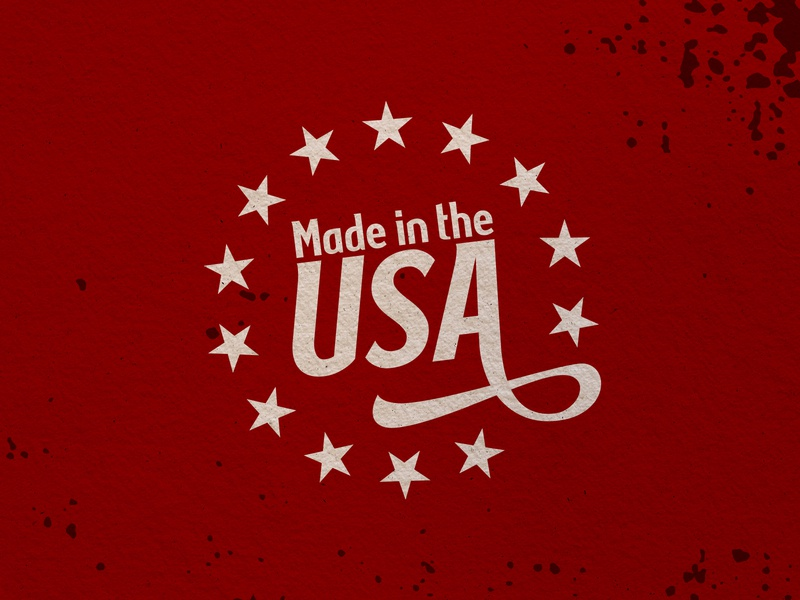Made In The USA stars packaging manufacturing america usa red branding logo design type