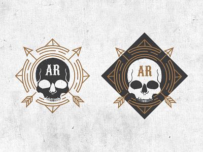 Skull Circle Arrows print gray grey gold arrows type skull