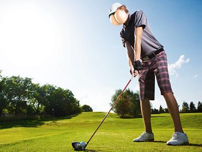 Butthead Golfer plaid tee grass green golf butt