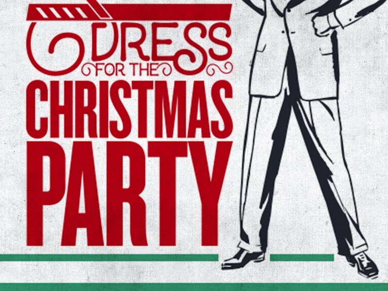 XmasParty ad advertising dress suit xmas christmas green type reduce