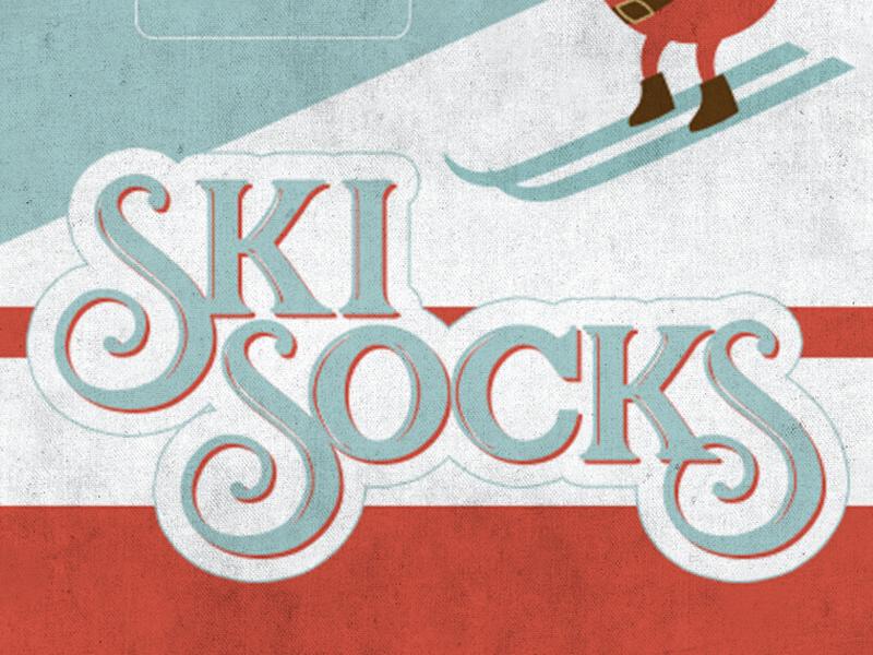 Ski Socks slope xmas chrismas white red blue advertising type